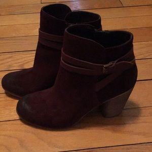 Dark maroon booties